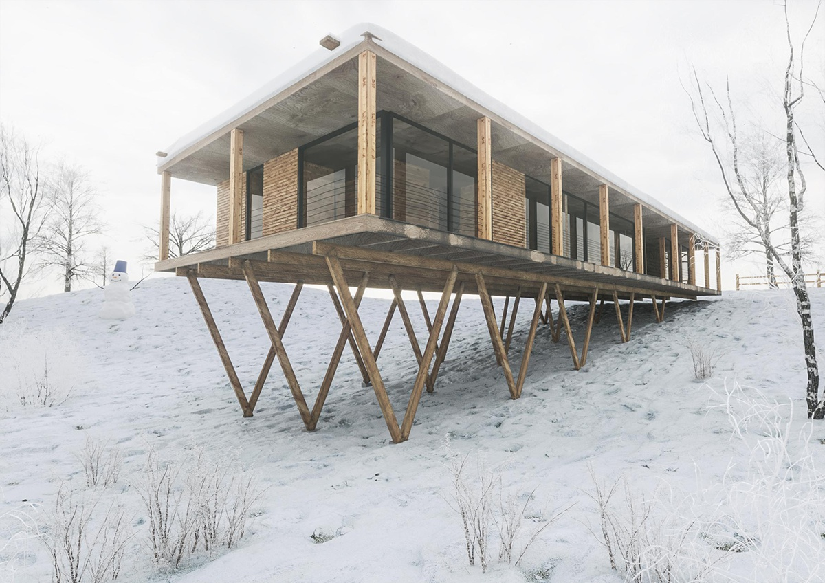 long cabin building winter environment
