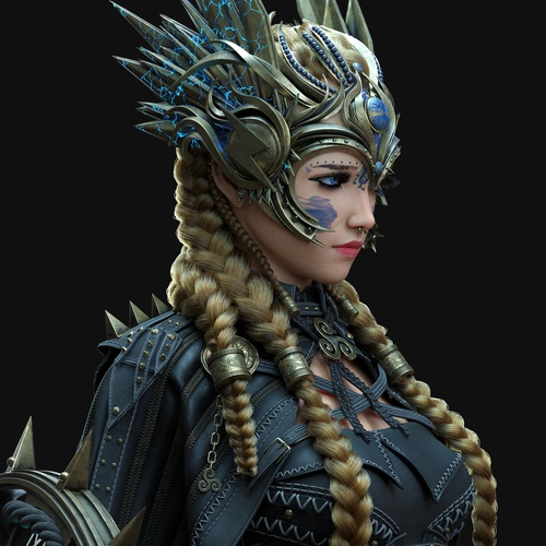 Valkyrie female warrior character design model close up