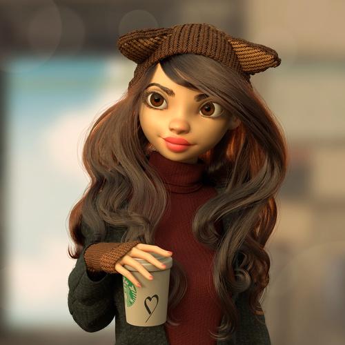 cute female character stylised 3d model