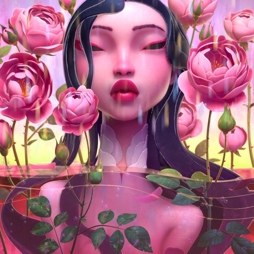 asian character design floral pink lady in water model