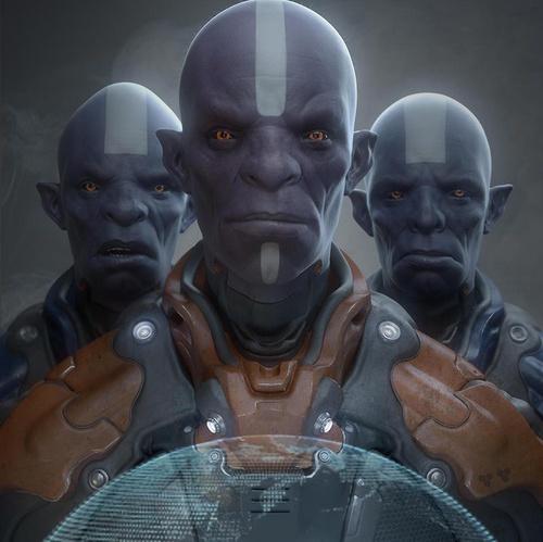 3d art purple humanoid aliens