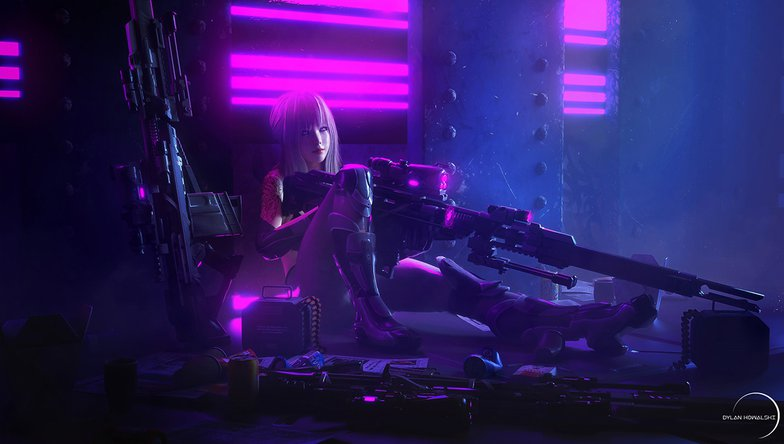 cyberpunk girl with weapons