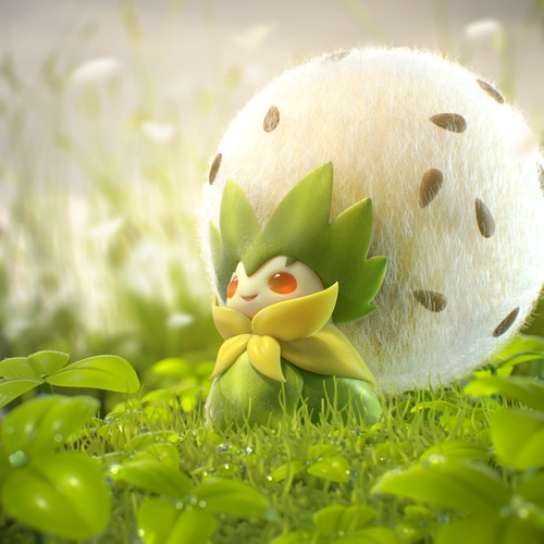 fuzzy pokemon 3d cute model render