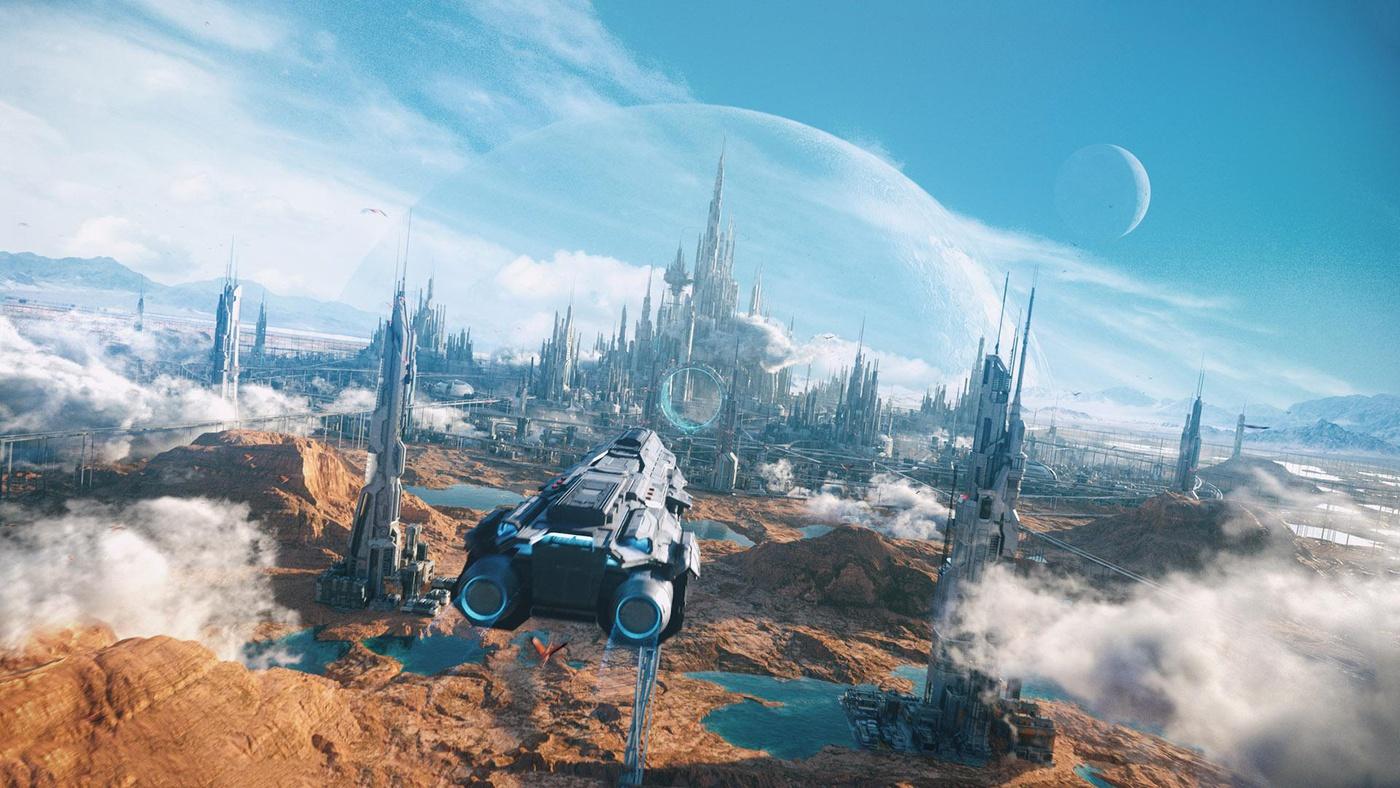 cityscape 3d model environment scenery ships sci-fi