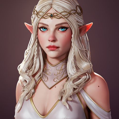 elven queen female character design fantasy 3d