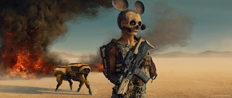 post-apocalyptic mickey mouse and pluto