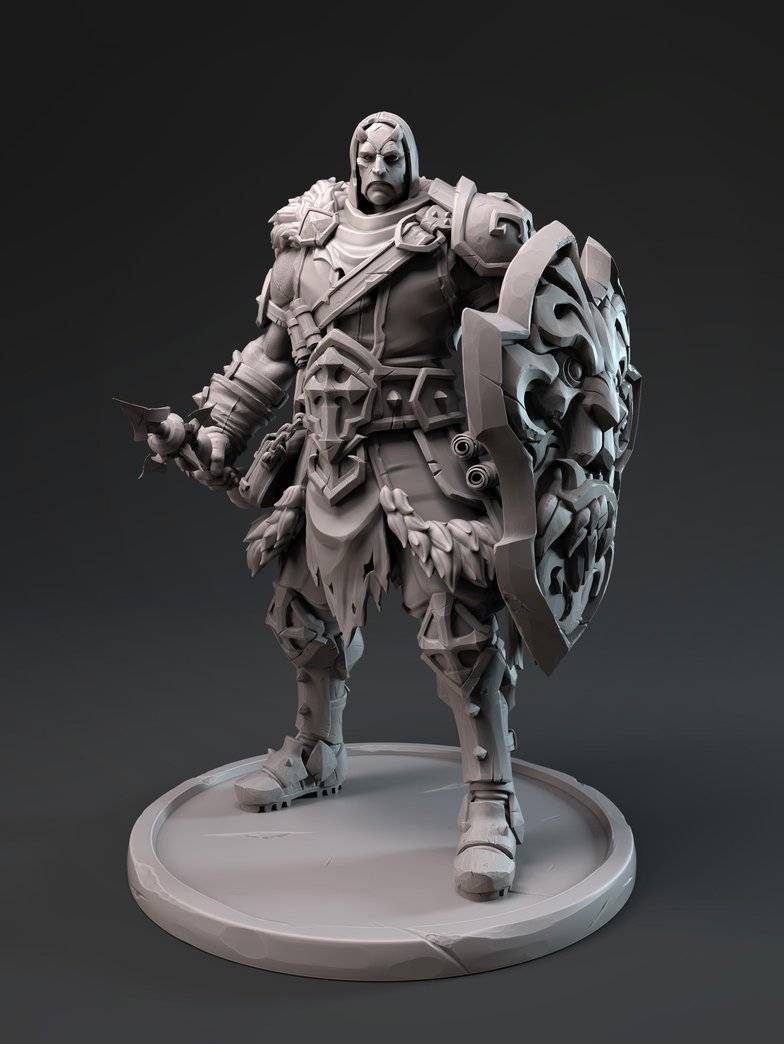 3D Character model man holding shield