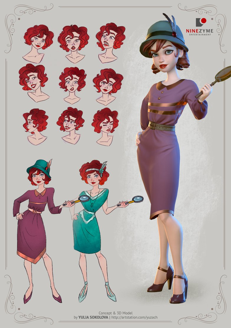 concept art female detective