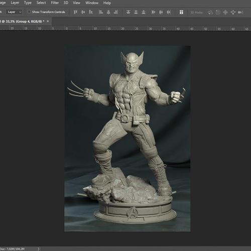 wolverine statue photoshop editing