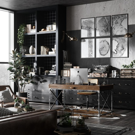 monotone render building architecture realism living room office