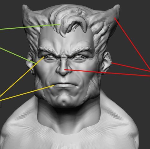 wolverine face sculpture