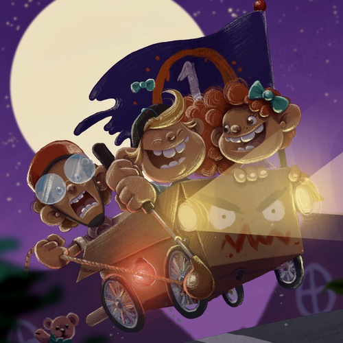 digital illustration children nighttime