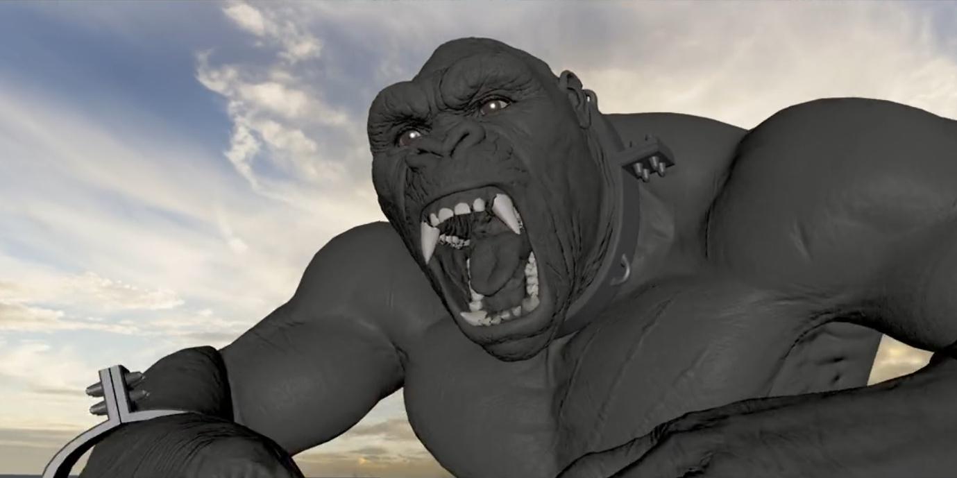 animal king kong  warner brother imagery progression 3d imagery