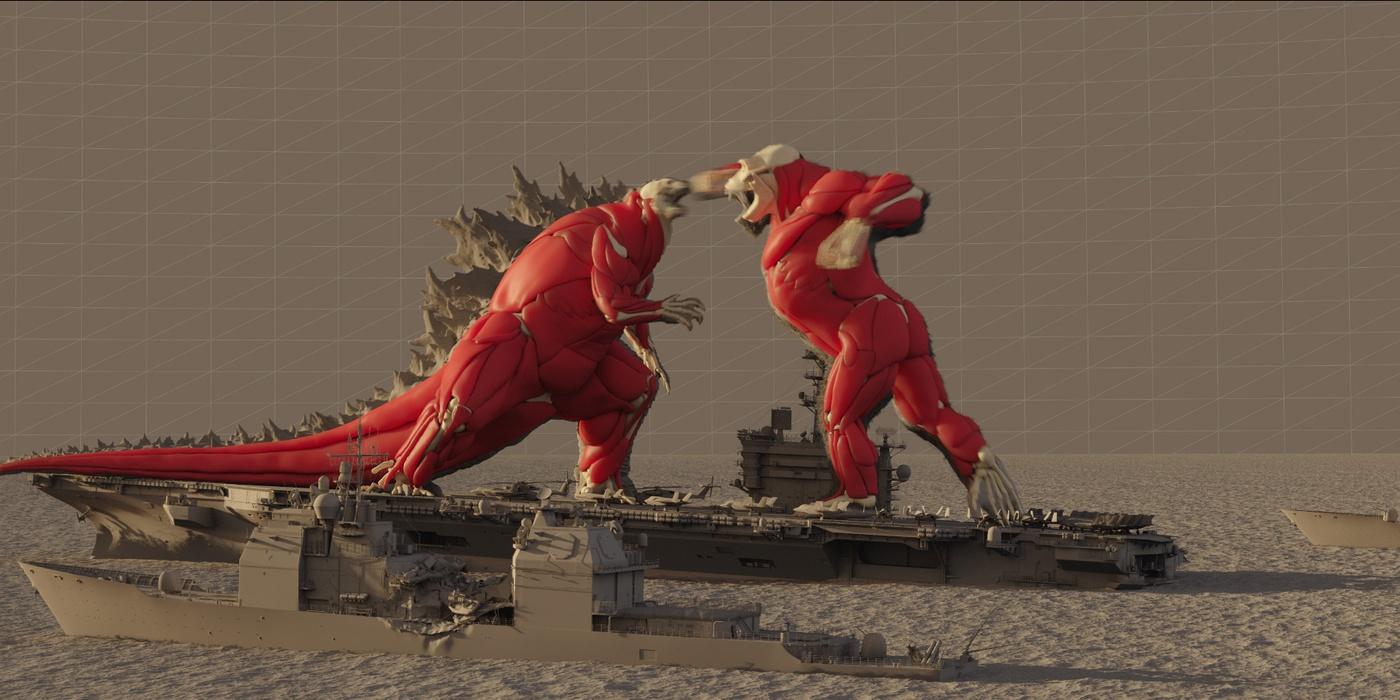 godzilla kong warner brothers cgi animation posing fighting