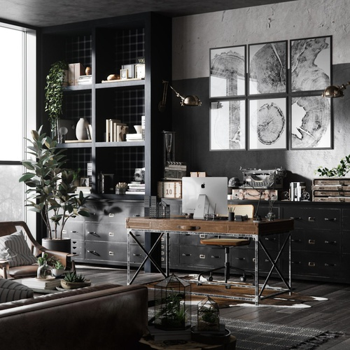 interior model design 3d office space unsaturated