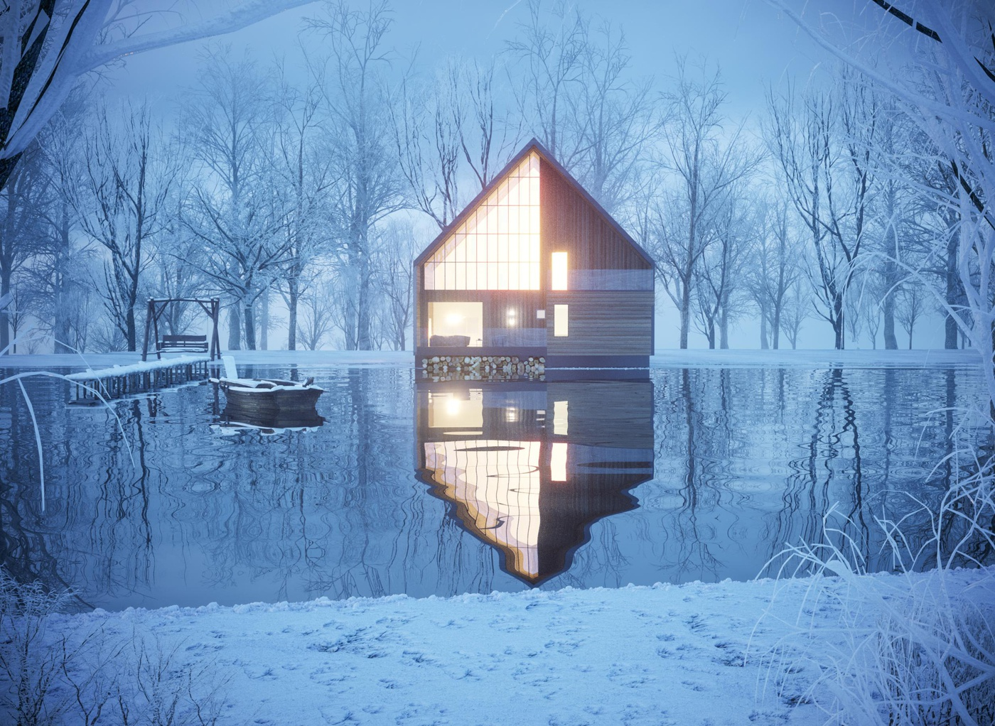 water house 3d model realistic render location