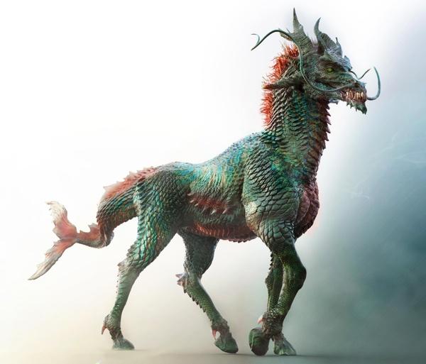 dragon horse 3d model design sculpture render realistic