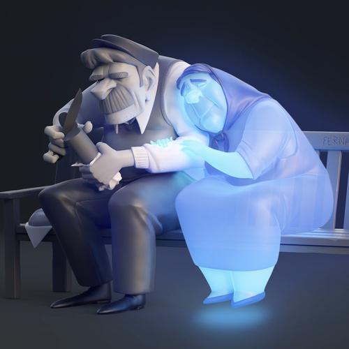 ghost wife stylised model sad loss life digital art
