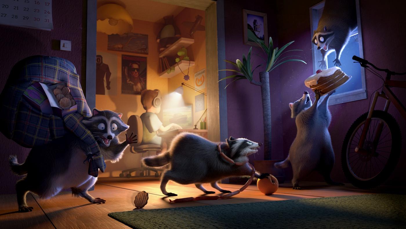 sneaky raccoons 3d environment
