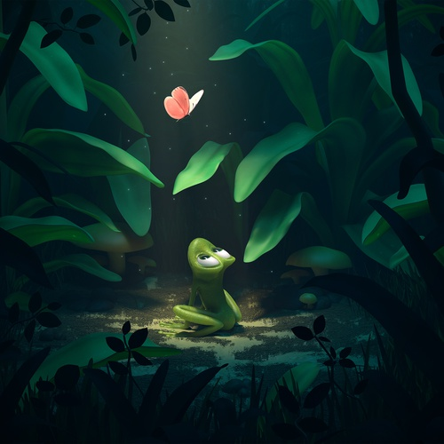 frog and butterfly nature illustration
