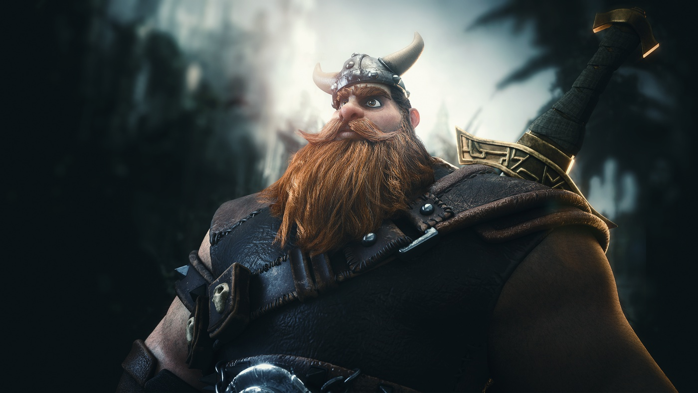 cartoon 3d model king viking project