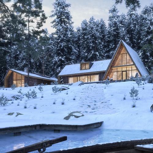cabin in snowy mountains arch-viz