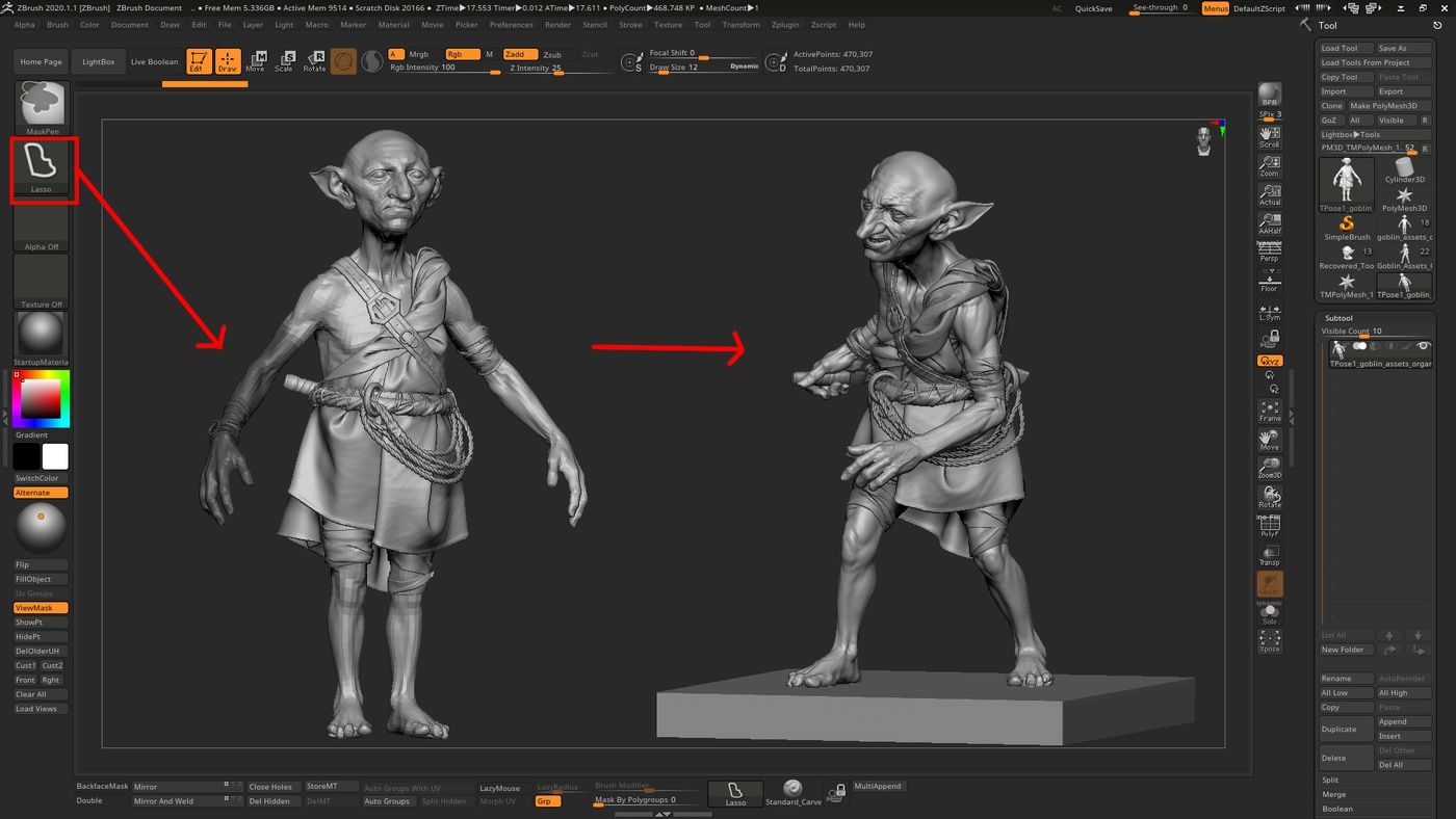 posing transpose master zbrush masking tools adjusting render