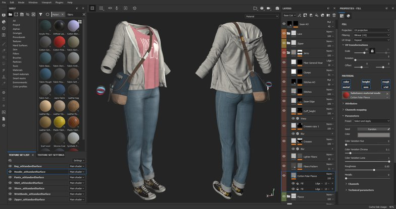 clothes texturing 3d female character