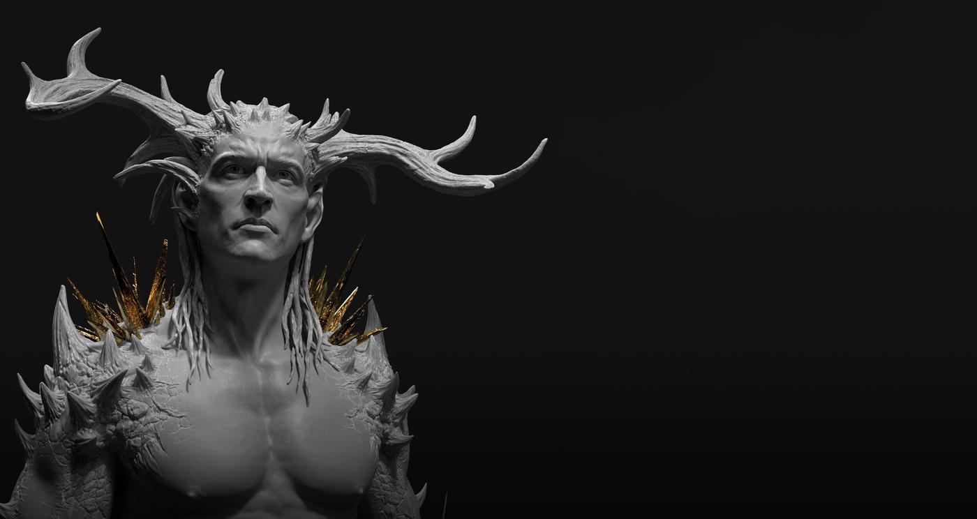 horns male figure design model character design render