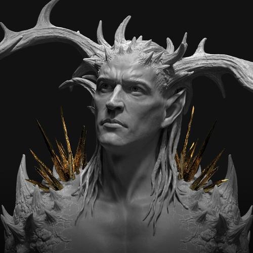 gold thorns horns male figure design model character design render