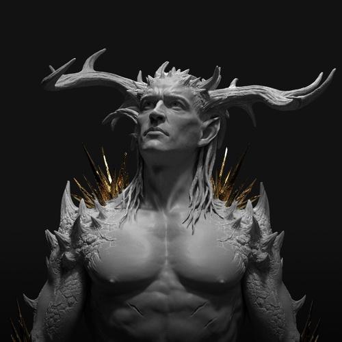 devil horns male figure design model character design render