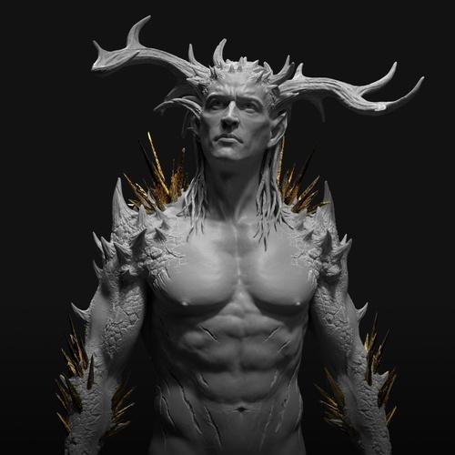 gold accents coloured horns male figure design model character design render