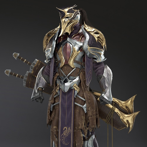 armoured futuristic male character 3d