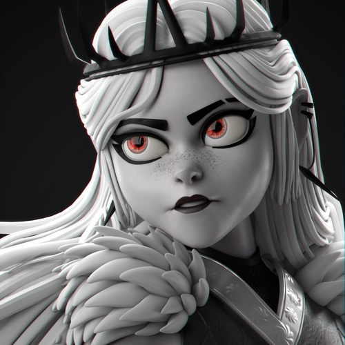 monochromatic chess queen headpiece woman render 3d