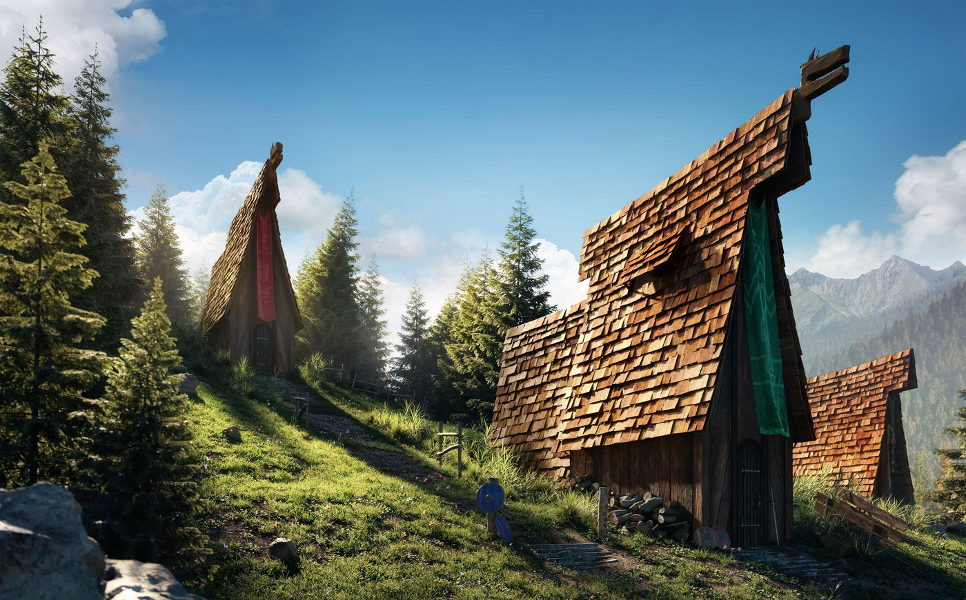 viking village outside nature 3d model