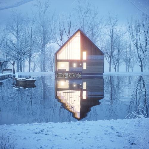 villa on winter lake 3d model