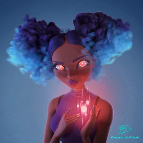 loish fan art female character 3d model