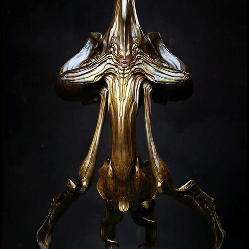 gold female alien 3d art