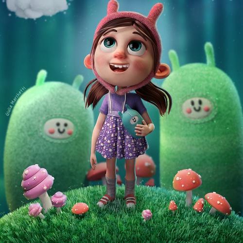 childhood character design girl cute 3d model