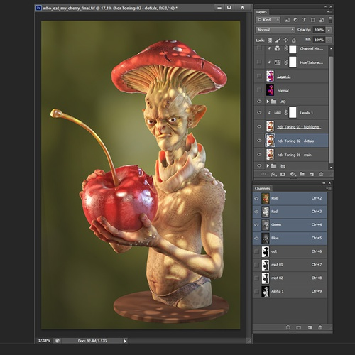 compositing in photoshop pixels green tone blurring
