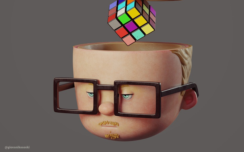 man with rubix cube