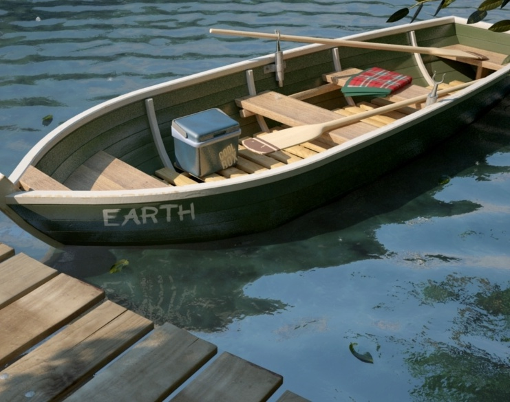 The boat's name is Earthby Hungy