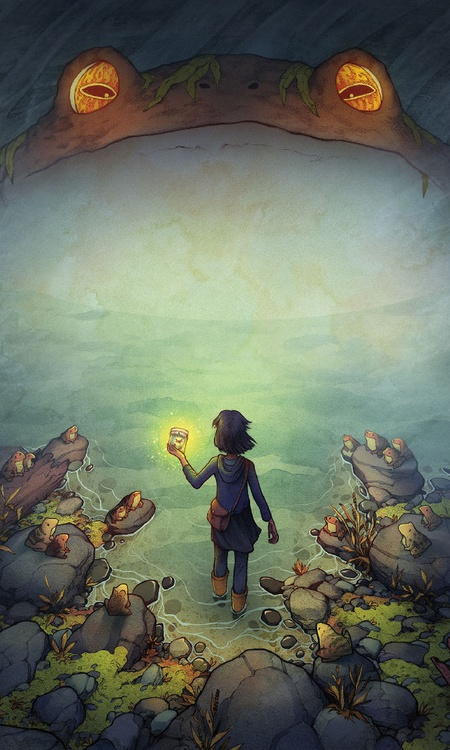 frog character design illustration 2d child adventure