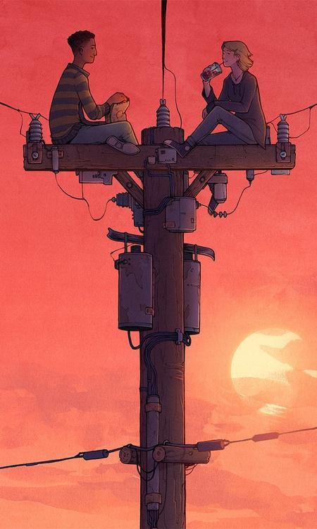 sunset landscape 2d illustration children sitting lamppost