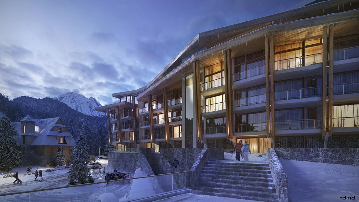hotel concept 3d design winter