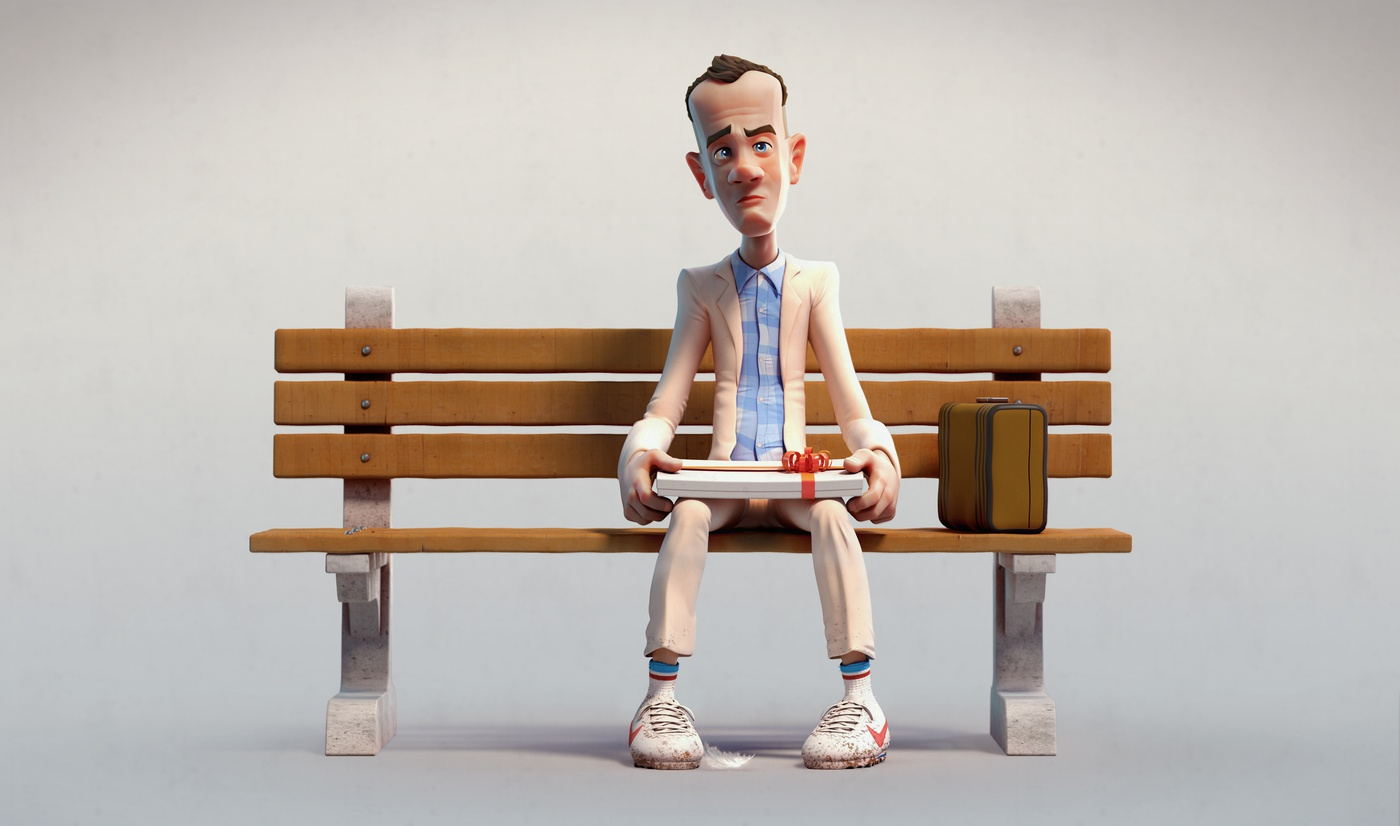 forrest gump fan art character render bench chocolate 3d render