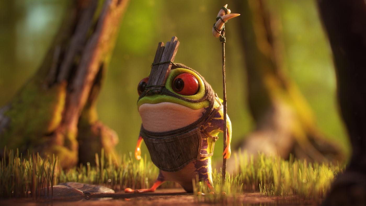 frog fantasy character design 3d render