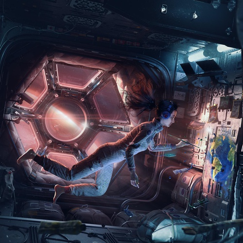 space female astronaut 2d art
