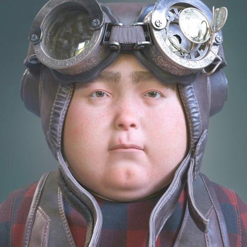 streampunk pilot 3d realistic portrait male character