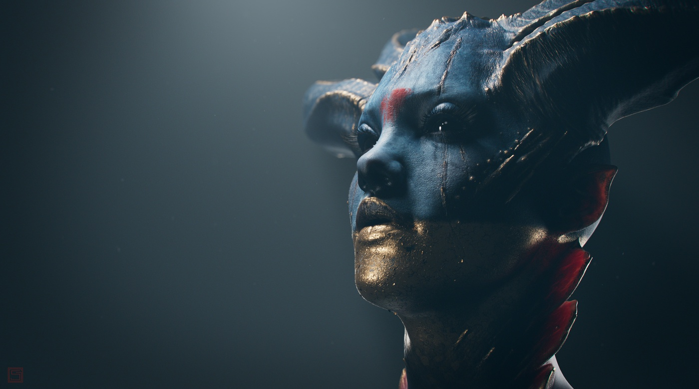 realistic portrait demonic character design